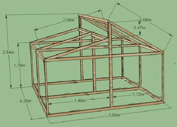 Чертеж конструкции Митллайдера - дачной теплицы из стекла