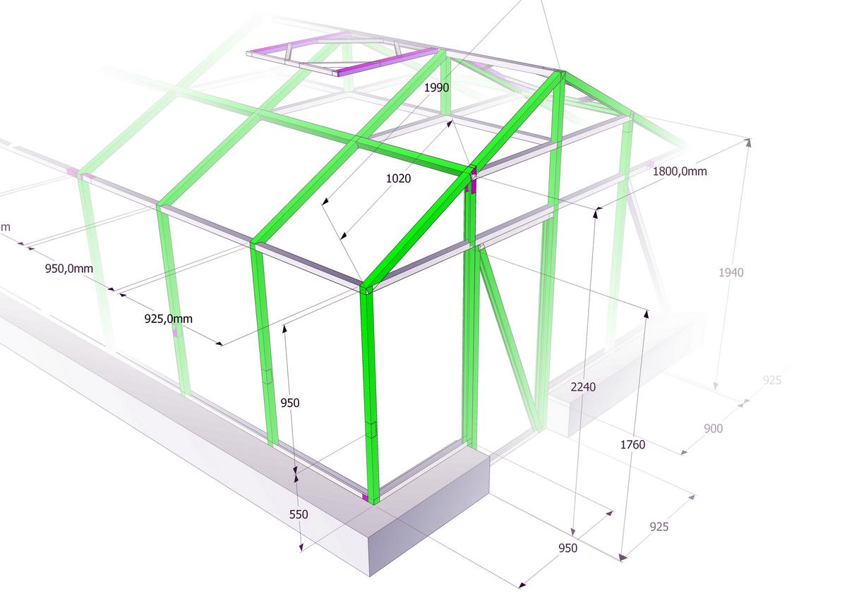 Чертёж двускатной стационарной конструкции на собственном фундаменте