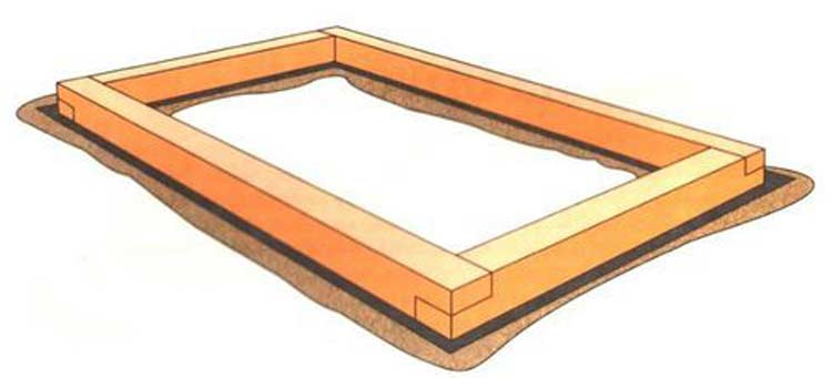 Схема укладки деревянного короба в траншею
