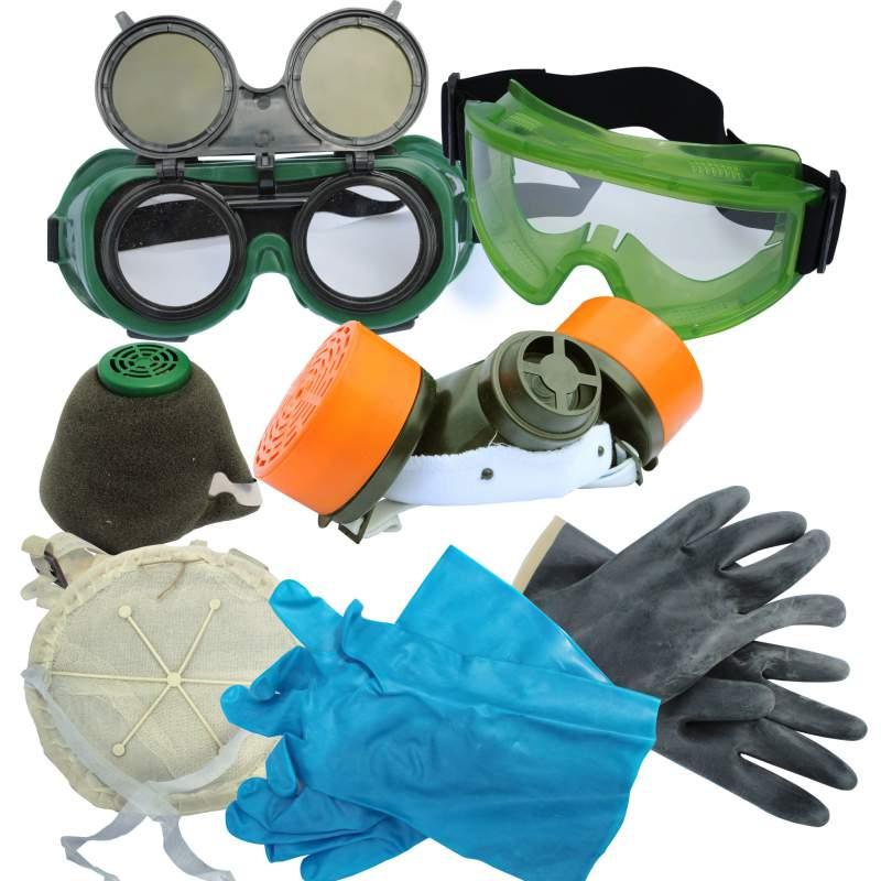 Средства защитные: респираторы, перчатки, очки
