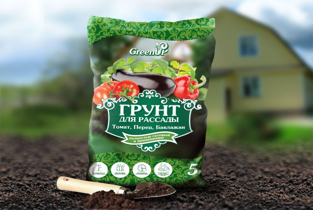 Грунт для рассады тм GreenUp «Томат, перец, баклажан»
