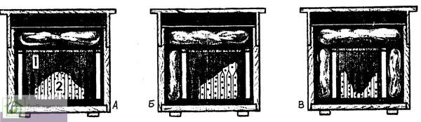 Способы сборки пчелиных гнезд на зиму: А - двусторонняя (сводом), 1 - рамки с медом, 2 - клуб пчёл на пустых сотах; Б - односторонняя (углом); В - бородой