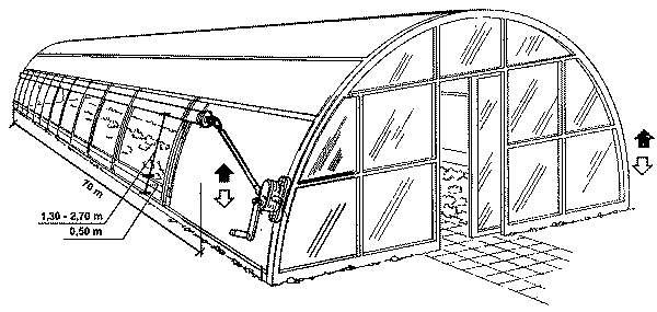 Альтернативный вариант - вентиляция теплиц скручивающимися плёночными шторами
