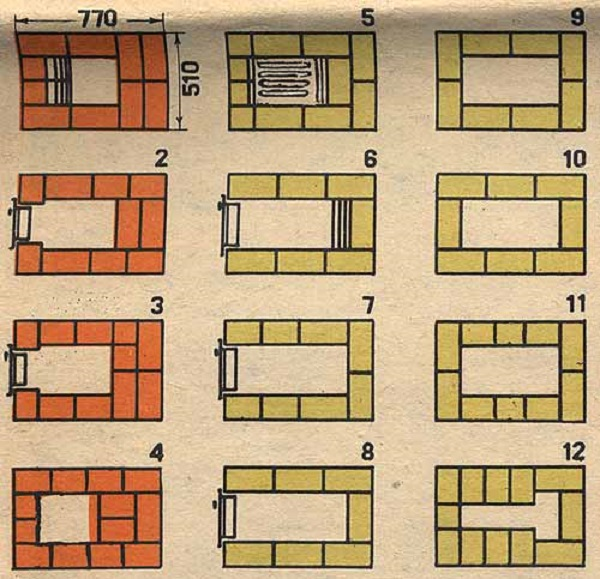 Порядовка кладки печи с 1 по 12 ряд