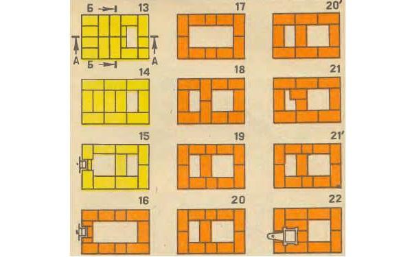 Порядовка кладки печи с 13 по 22 ряд