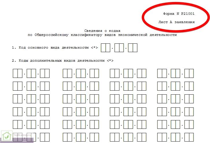 При регистрации ИП заполняет заявление формы Р21001. При заполнении листа «А» и вносятся сведения о видах экономической деятельности