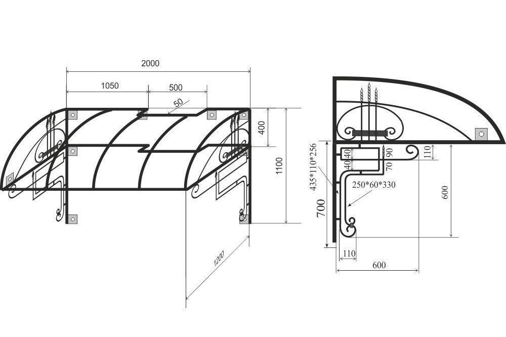 Пример рабочих чертежей для изготовления козырька