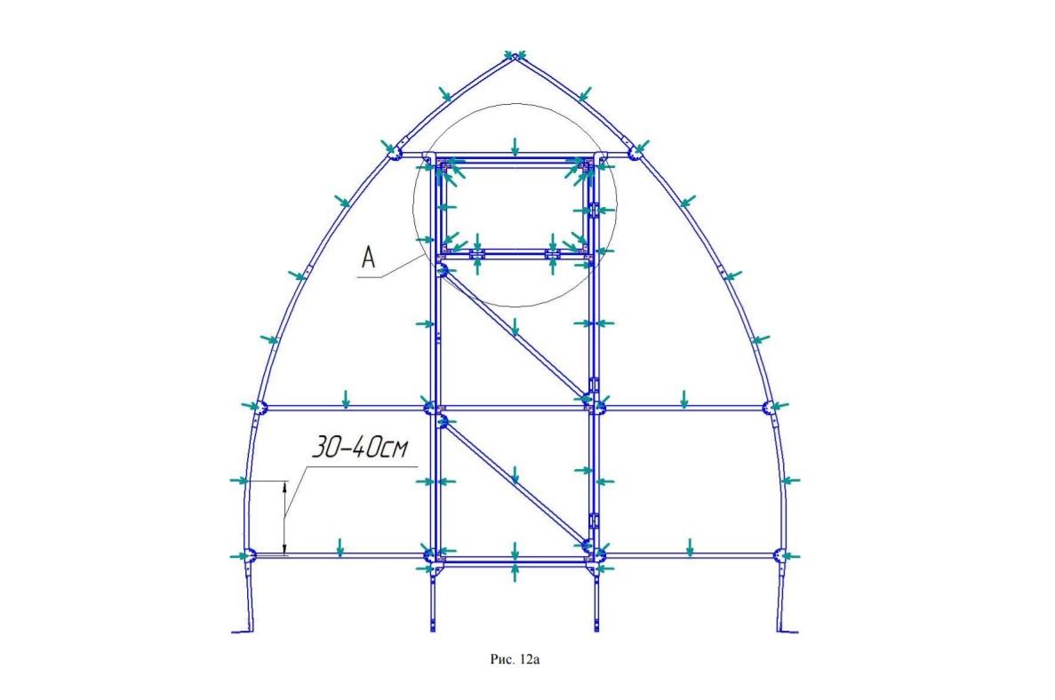 Расположение отверстий для крепления поликарбоната