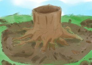 Шаг 1. Удаление земли, подрубка корней