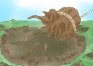 Шаг 3. Пень вытягивается из земли