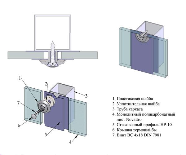 Схема крепления монолитного поликарбоната