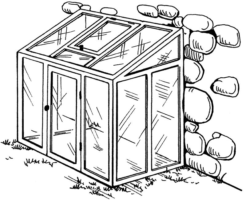 Схема пристенной теплицы