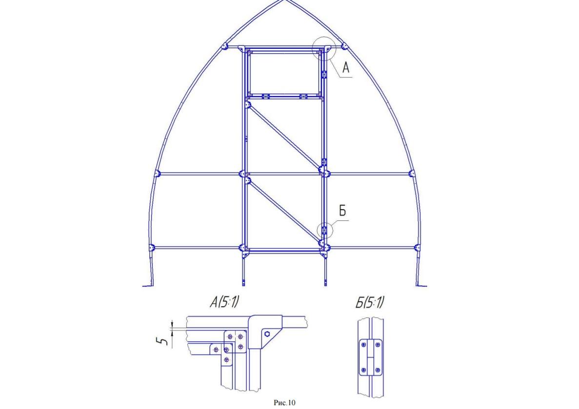 Схема сборки каркаса второго торца
