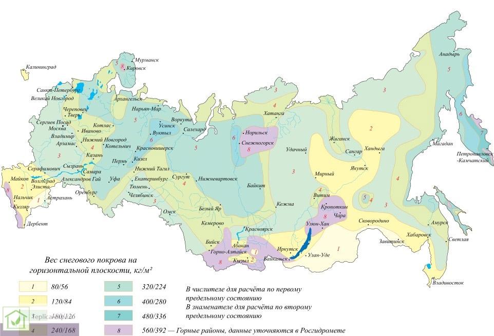 Снеговая нагрузка в различных регионах Российской Федерации