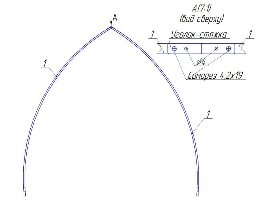 Соединение дуговых боковых профилей