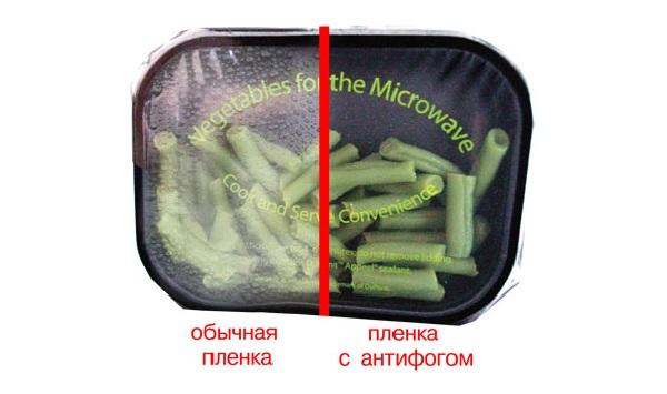 Сравнение пленки с антифогом и без него