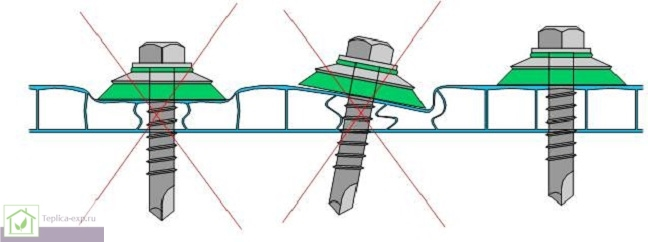 Сзема крепления поликарбоната с помощью самореза и термошайбы