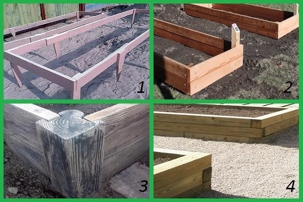 Варианты крепления досок в деревянных оградах для грядок и клумб