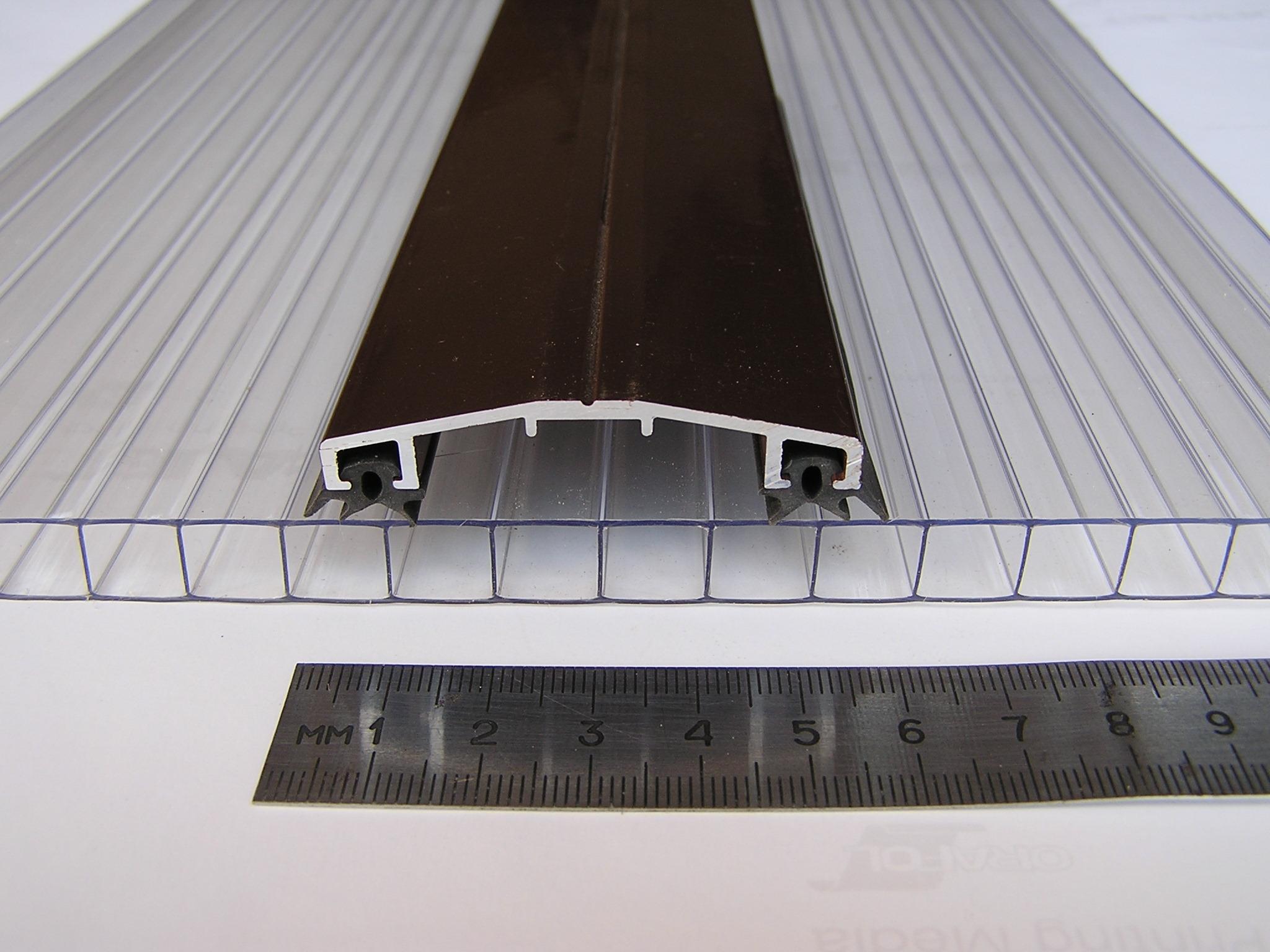 Профиль для поликарбоната прижимной/стыковочный, алюминиевый, АД 53-10