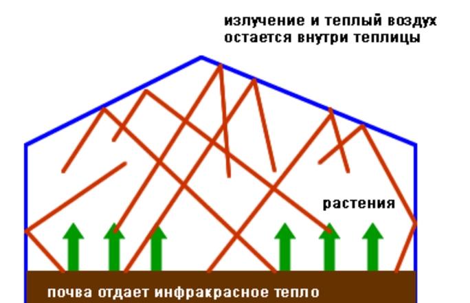 Иллюстрация, поясняющая принцип действия парников и теплиц. Для последних данный эффект дополняется различными отопительными системами