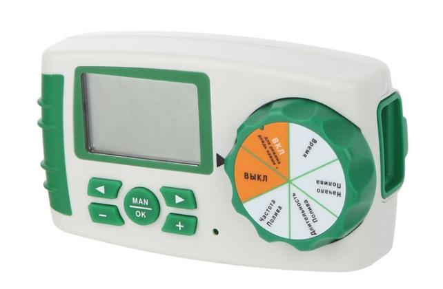 Контроллер GA-325. С его помощью можно запрограммировать орошение на четырех отдельных зонах, которыми могут быть как разные грядки, так и целые теплицы
