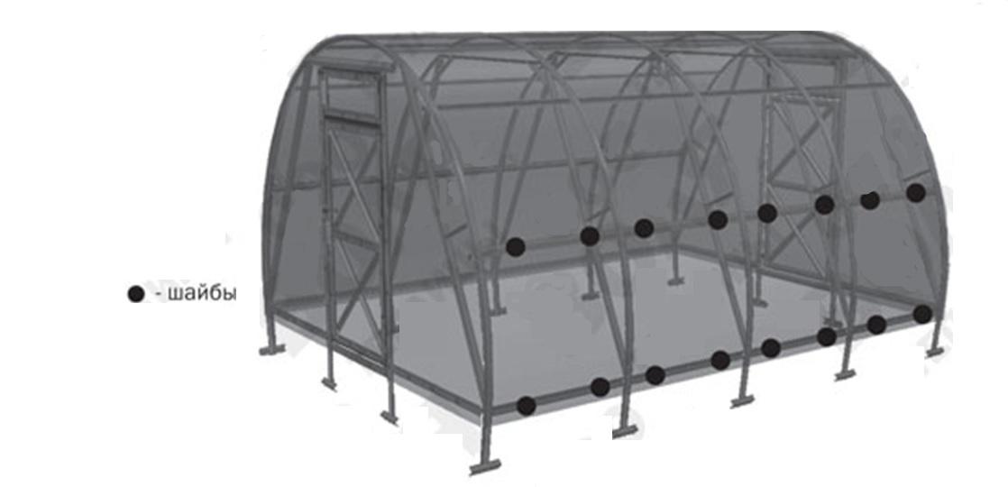 Крепление поликарбоната по прогонам конструкции
