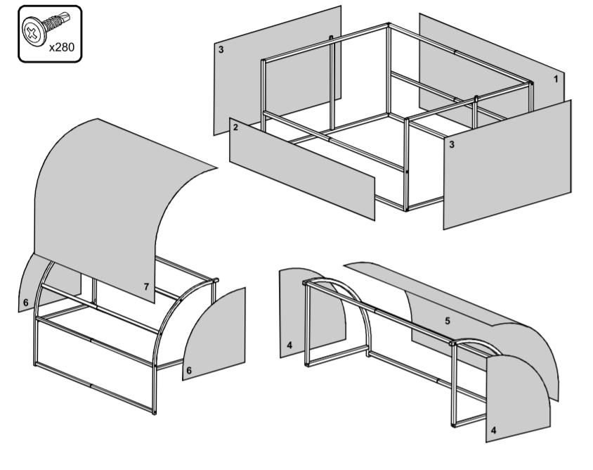 Обшивка парника поликарбонатом (в соответствии со схемой раскроя)