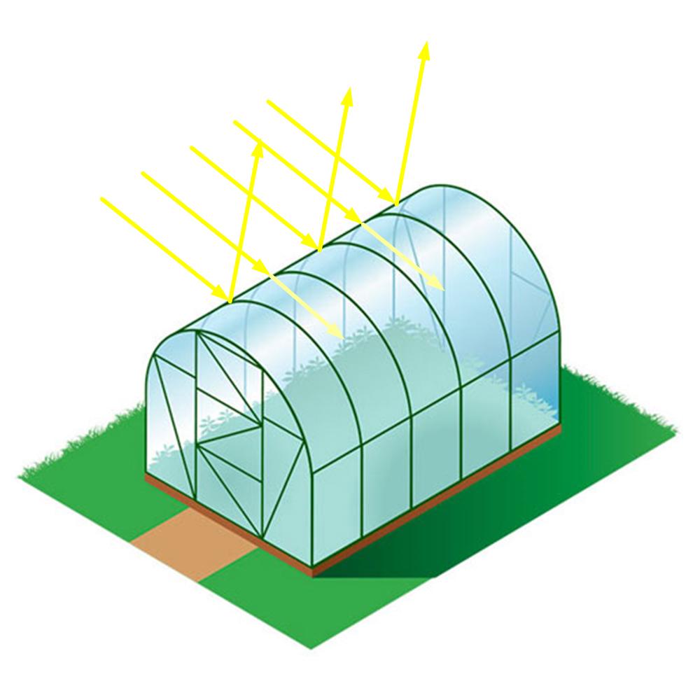 Отражение лучей от арочной теплицы