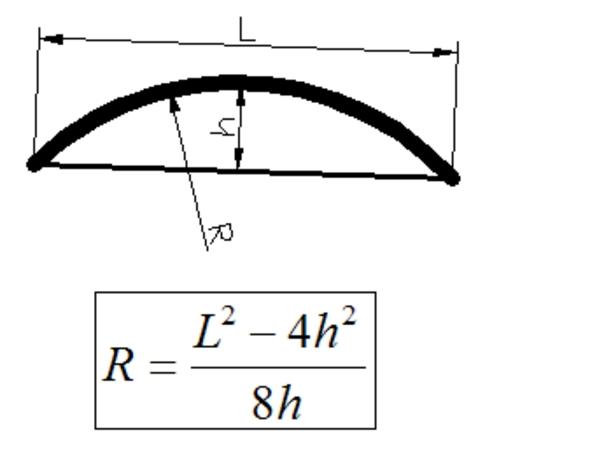 Пример чертежа дуги