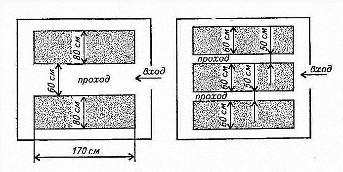 Пример чертежа с грядками в два и три ряда в теплице