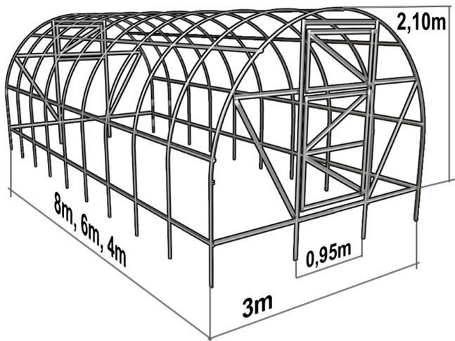 Пример чертежа теплицы из профиля