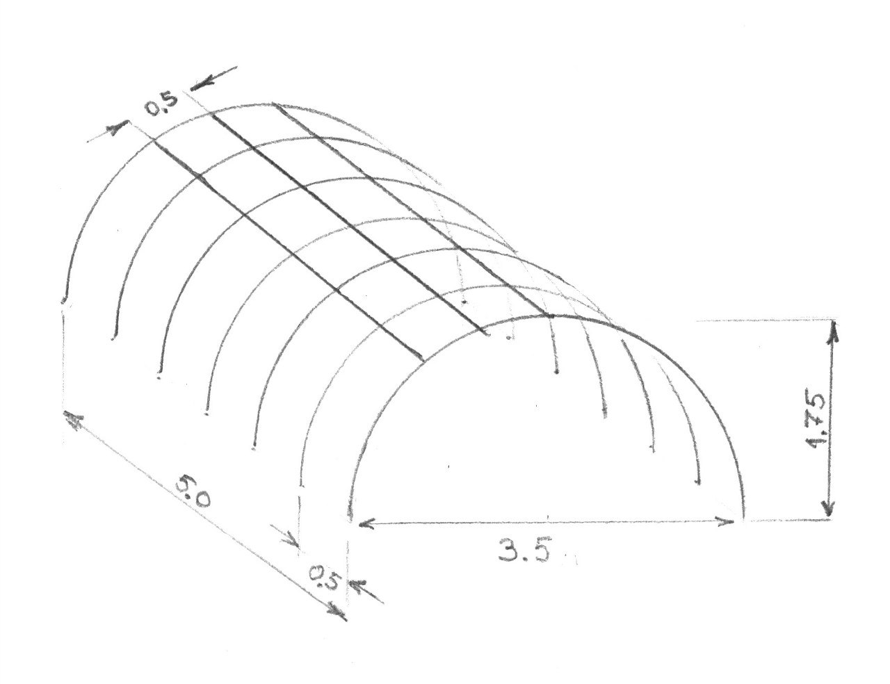 Примерная схема парника на металлических дугах