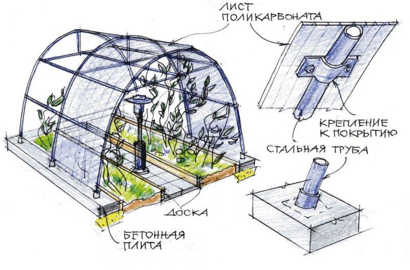 Примерная схема сборки теплицы из поликарбоната