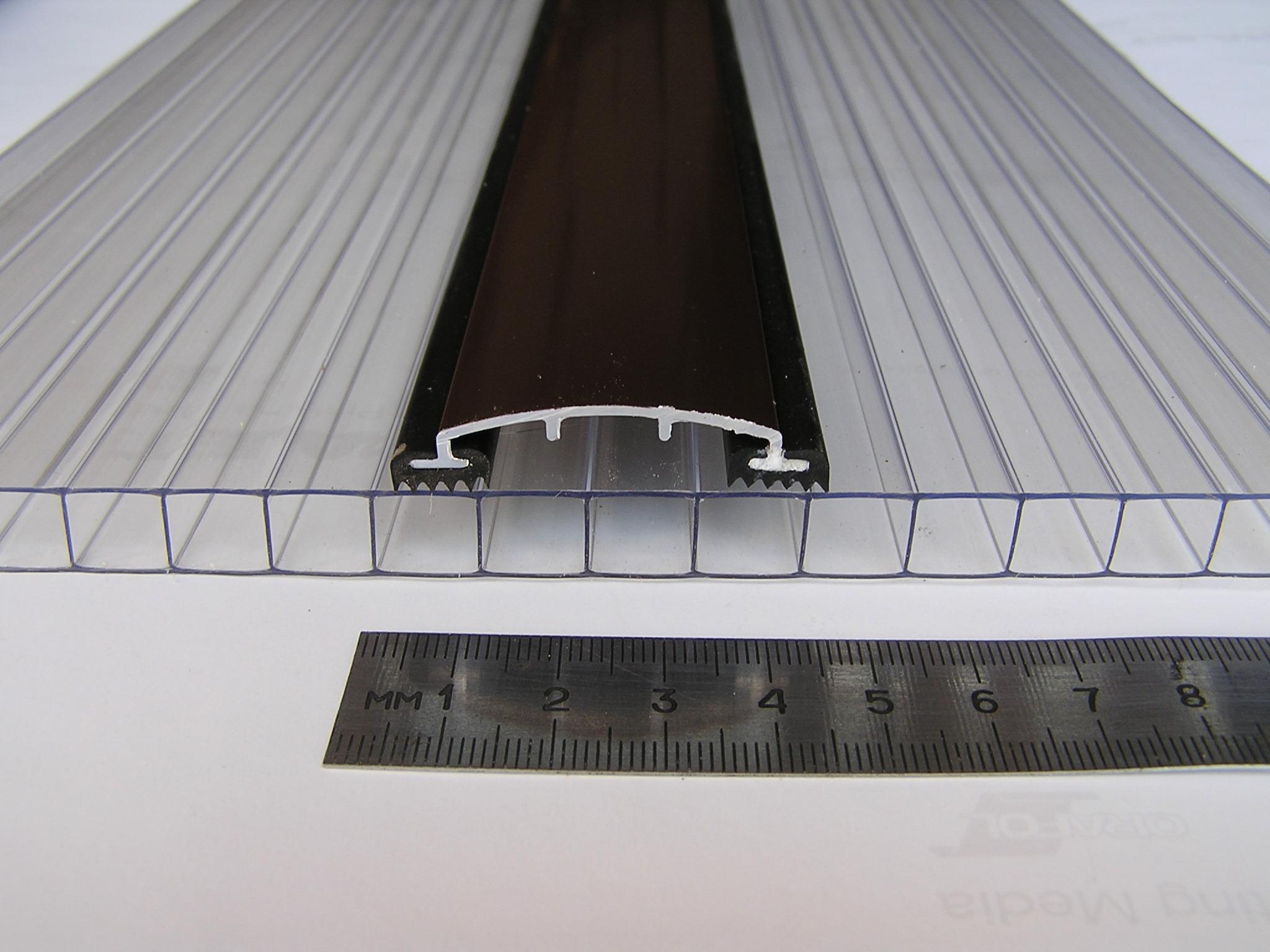 Профиль для поликарбоната прижимной, алюминиевый АД 40-7