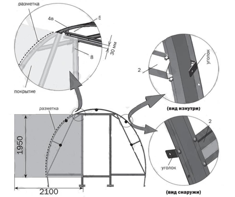 Раскрой поликарбоната для торцевой части конструкции