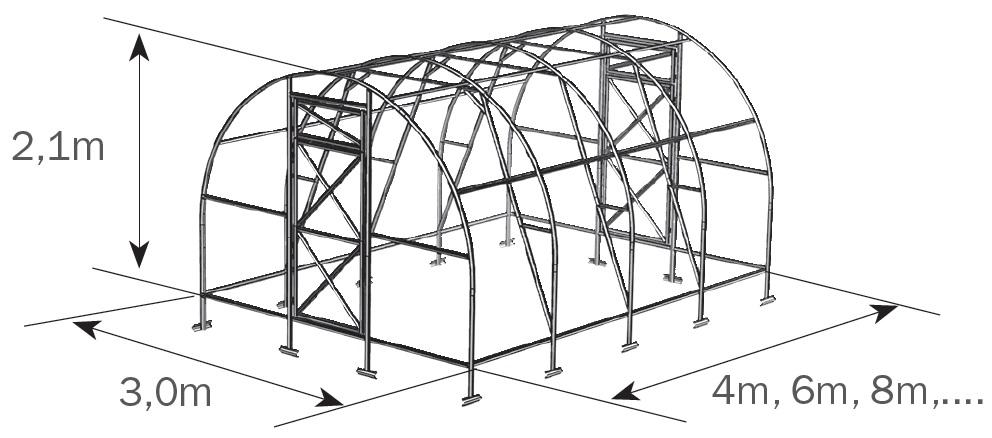 Размеры и устройство теплицы «Дачная-Трёшка»