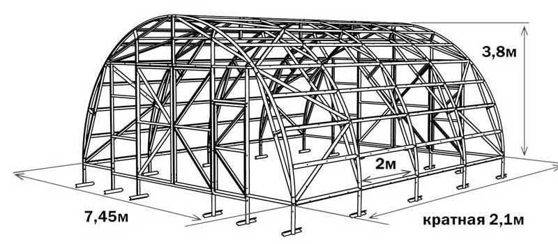 Схема промышленной теплицы «Фермер-7.5»