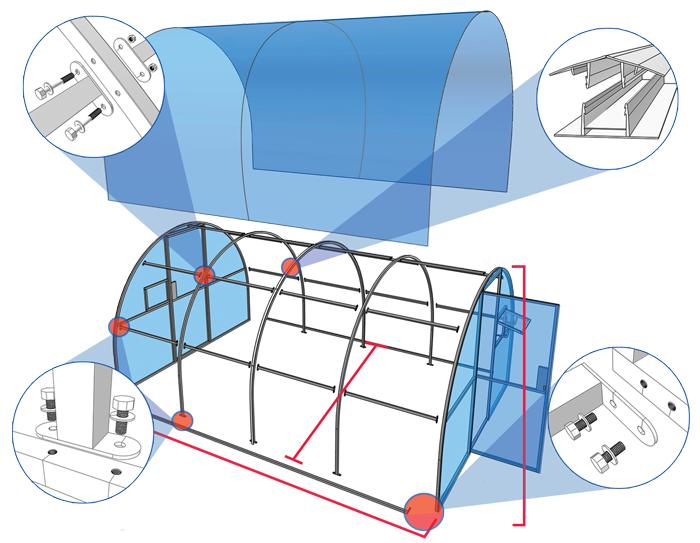 Схема сборки и обшивки поликарбонатом