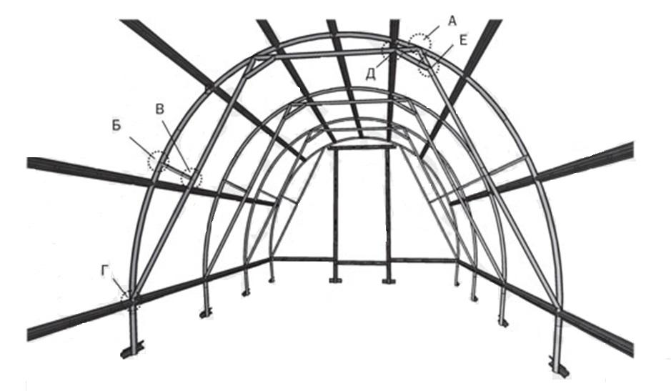 Схема установки боковых подкосов