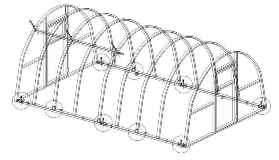 Схема установки дуг