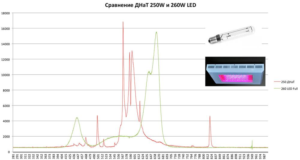 Сравнение ламп 250вт ДНаТ OSRAM Plantostar и 260вт 7 спектрального LED