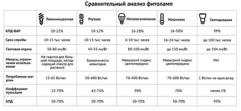 Сравнительный анализ фитоламп