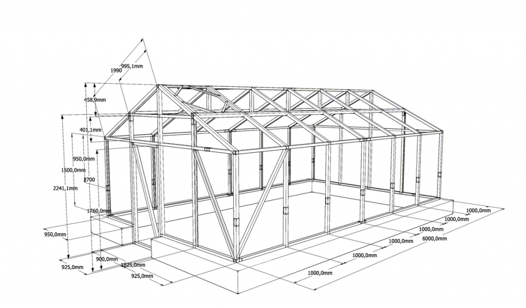 Вариант типового чертежа с указанием необходимых размеров