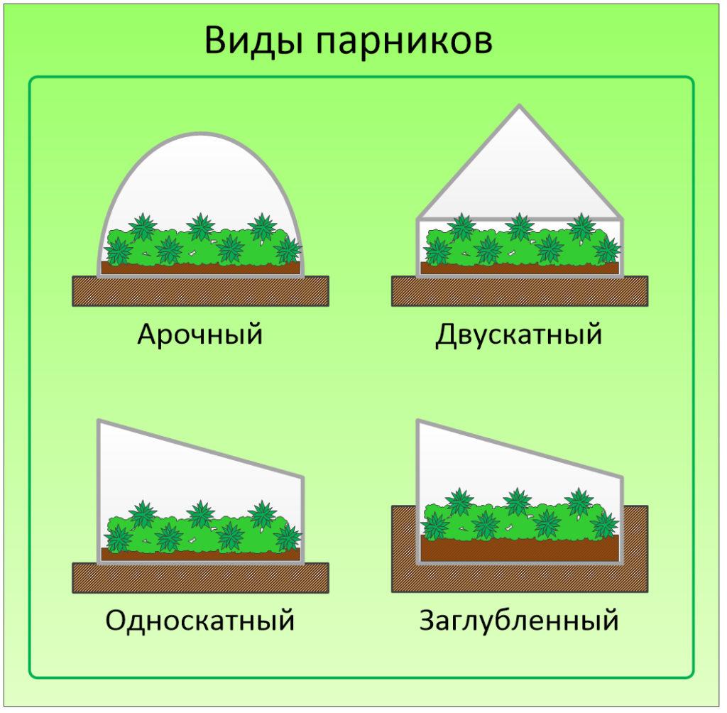 Виды парников по форме