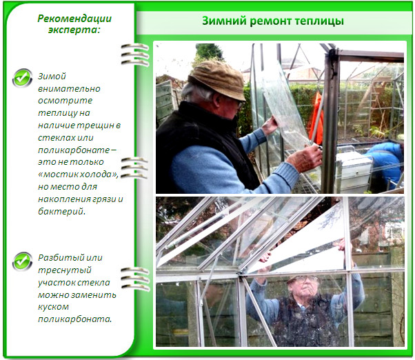 Зимний ремонт стеклянной теплицы