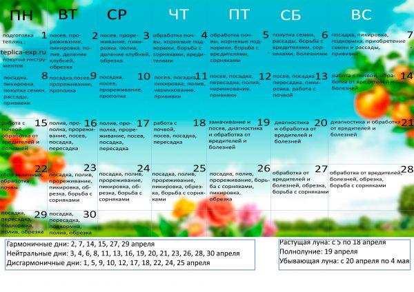 Календарь садовода на апрель 2019 года