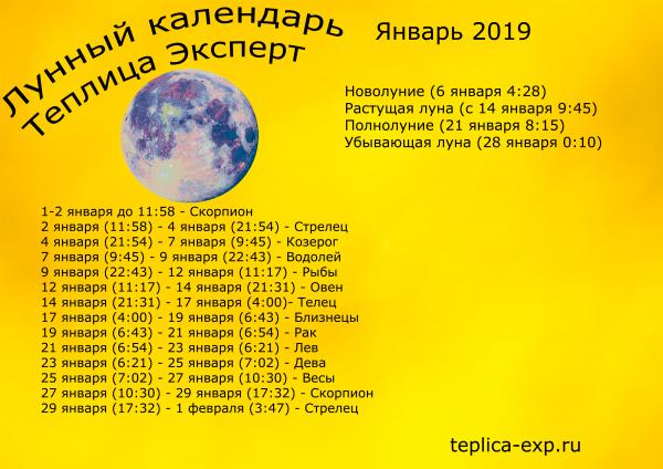 Лунный календарь на январь