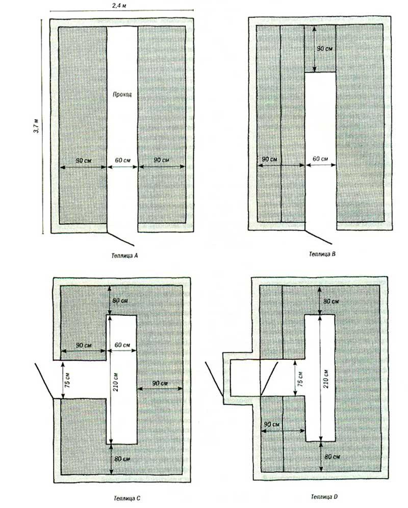 Еще несколько вариантов расположения грядок, в том числе и для теплицы с входом со стороны длинной стены. П-образная форма грядок и ее вариации позволяют увеличить полезную площадь внутри без особого ущерба для удобства работы и перемещений