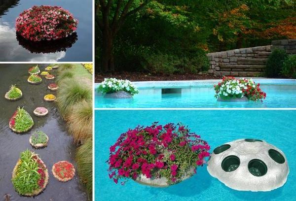 Еще несколько вариантов плавающих клумб