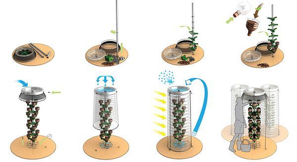 Интересный вариант мини-теплички. Дождевая вода собирается вверху, проходит по центральной трубе, поливая растения, и скапливается внизу для дальнейшего полива